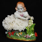 VTG Sitzendorf Germany Porcelain Dresden Lace Figurine Girl Holding Lilies #762