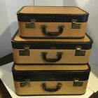 Vintage 1940's Three Leather Suitcases By Cavanaugh-stamped in Alligator Brown
