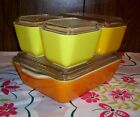 Vintage Pyrex Sunflower 8Pc Refrigerator Set Dishes 2501 502 503 Orange Yellow