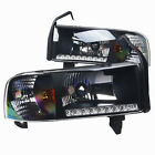 Stealth 1994 2001 Dodge Ram 1500 2500 3500 Headlights with LED DRL Black Clear