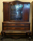 Rare Antique Curved Glass Carved and Embellished Cabinet Hutch