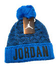 NIKE Kids Unisex Air Jordan Go 2-3 Stripe Pom Beanie Black & Gold Size 8 - 20
