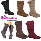 Womens Knee Thigh High Slouch Suede Buckle Slip on Flat Boots Choose Sizes 5 10