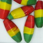 Glass Beads Red Yellow Green Rasta Opaque Oval 30mm Pack of 6 Made in India