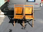 (2) ANTIQUE VINTAGE WOOD WOODEN SLAT FOLDING CHAIRS 1 SIMMONS CAMPING TAILGATE