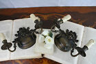 Exclusive PAIR witch Satyr gothic head wall sconces lights bronze France 1930