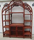 Vintage mid century bentwood bamboo wicker rattan etagere display wall unit
