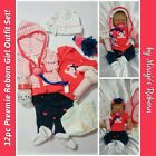 12pc Preemie Girl 3pc Outfit w 9 Matching Reborn Accs Set NO DOLL Pacifier