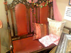 Antique Long Red Leather Wood Carved Halloween Sofa Couch Settee Tulsa, Oklahoma