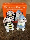 Fitz and Floyd Halloween Bunny Blooms Salt and Pepper Set In Box 2004 NIB