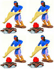 4 Original Timpo Blue Apaches Sending Smoke Signals - 54mm unpainted toy soldier