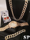 MEN ICED OUT HIP HOP COLLECTION WATCH & NECKLACE & EARRING & BRACELET COMBO SET