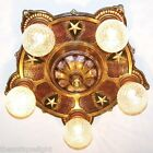 855 Vintage 20s 30s Ceiling Light  fixture polychrome chandelier Colonial stars