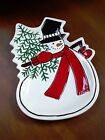 FITZ & FLOYD CELEBRATE SNOWMAN CANAPE PLATE SNACK COOKIE TRAY CHRISTMAS TREE
