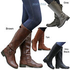 New Women SBHr Tan Black Gray Brown Buckle Riding Knee High Boots size 55 to 11