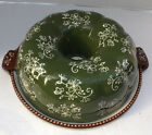 New Temp-tations Floral Lace Green Fluted Tube Pan Tray & lid it Bundt Cake