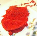 1920's Flapper Purse Glass Red Seed Beaded Drawstring Bag Vintage