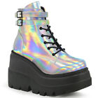 SHAKER 52 COMBAT ARMY GOTH BIKER LACE UP STACKED WEDGE PLATFORM ANKLE BOOT