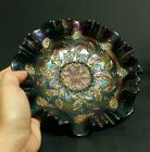 FENTON GLASS HOLLY PATTERN RUFFLED CRIMPED 1910'S-1920'S BOWL CARNIVAL BLUE