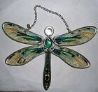 Amia Studios SUNCATCHER LG DRAGONFLY HANDPAINTED STAINED GLASS NWT WALL HANGING