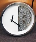 METAL CONTEMPORARY WALL CLOCK 15 1 4 DIAMETER WHITE WITH 12 MOVING GEARS 42829