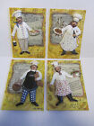Kate McRostie 3-D Hanging Wall Plaques w French/italian Chef's/Recipes Set of 4