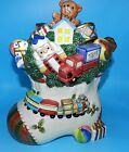 OMNIBUS BY FITZ & FLOYD TOYLAND HOLIDAY CHRISTMAS STOCKING COVERED COOKIE JAR