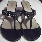 Cabrizi Women's studded T-strap pump/kitten/heels black/gold SZ 7M L=9.5