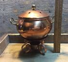 Vintage Solid Copper Potpourri Pot Solid Brass Handles Nickel Lined With Box