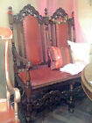 Antique Red Leather, Wood Carved ~Halloween~ Sofa Couch Settee Tulsa, Oklahoma