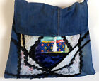Handmade Quilted Big Bag Blue Cotton jJeans Purse 16 x 17 inch Long Handel Tote