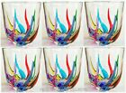 VENETIAN CARNEVALE STEMLESS WINE  OLD FASHIONED GLASSES SET OF SIX