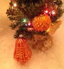 2 ANTIQUE GERMAN Xmas ORNAMENT Embossed Bell and Waffle Ball Copper Orange