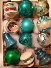 ANTIQUE Vtg TEAL DIORAMA TOPS TORNADO BELL TREE SHAPED CHRISTMAS ORNAMENTS TEAL