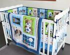 Blue Sports Puppy Dog Crib Nursery Baby Bedding Set Quilt Bumper Sheet Skirt