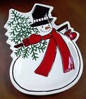 FITZ & FLOYD CELEBRATE! CANAPE COOKIE PLATE SNOWMAN SNACK TRAY CHRISTMAS TREE