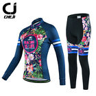 CHEJI Womens Retro Thermal Winter Cycling Jersey Pants Set Fleece Cycling Kit