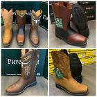 MENS WORK BOOTS GENUINE LEATHER STRAP SQUARE PIG TOE RODEO BROWN MANGO COWBOY