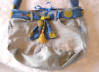 Handmade Quilted Big Bag Blue Cotton jJeans Purse 16 x 12 inch Long Handel Tote