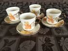 4 VINTAGE Franciscan OCTOBER THANKSGIVING FALL LEAVES coffee tea CUPS SAUCERS