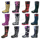 Womens Rain Boots Rubber Waterproof Colors Wellies Mid Calf Snow Boots Sizes