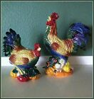 Colorful FITZ and FLOYD Coq du Village Ceramic Rooster Hen Candle Holders MINT