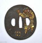 19C Japanese Mixed Metal Bronze Gold Gilt Iron Open Work Sword Tsuba Figure