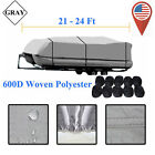 21 24ft Square Waterproof Heavy Duty 600D Trailerable Pontoon Boat Cover NEW MX