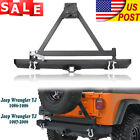 Rock Crawler Rear Bumper with Tire Carrier Swing For 1987 06 Jeep Wrangler YJ TJ