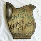 Rustic 265 Tarose CHINA GLASS Queens Ware Shop Store Sign Wood Wall Plaque Art