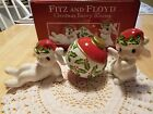 NIB RARE FITZ AND FLOYD CHRISTMAS BUNNY BLOOMS TUMBLERS FIGURINE SET OF 3 CUTE!