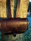 Leather ammo pouch with removable shoulder strap/ Owl Design/ Handcrafted in USA