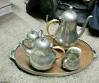 K.D.M. Tiel Royal Holland Pewter Coffee Tea Set with Tray