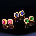 CZ Stud Earrings 18K yellow Gold Plated 2ct princess cut halo square men women